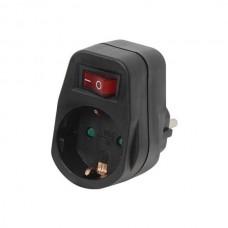 Adaptor Ρεύματος SAS 1 Θέσης Με Διακόπτη 100-15-117 Μαύρος